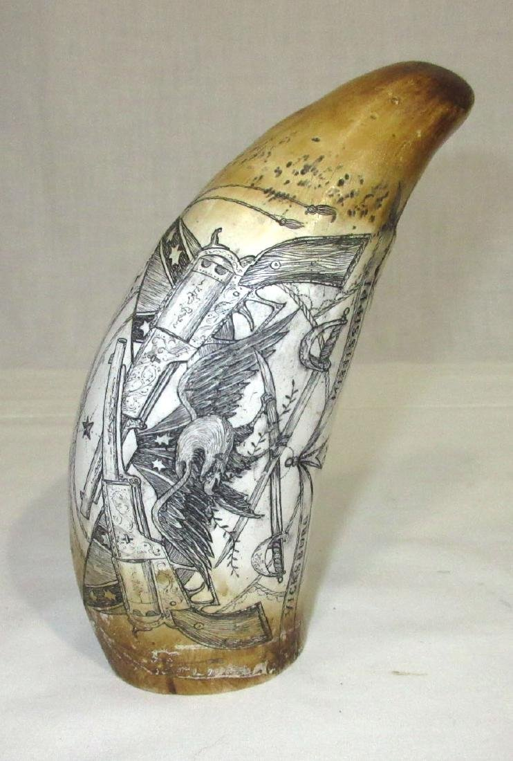 Modern Composition Scrimshaw Whale Tooth