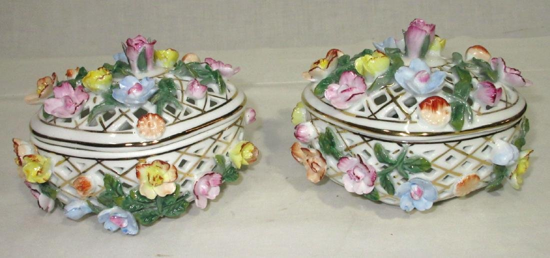 2 Reticulated Porcelain Boxes