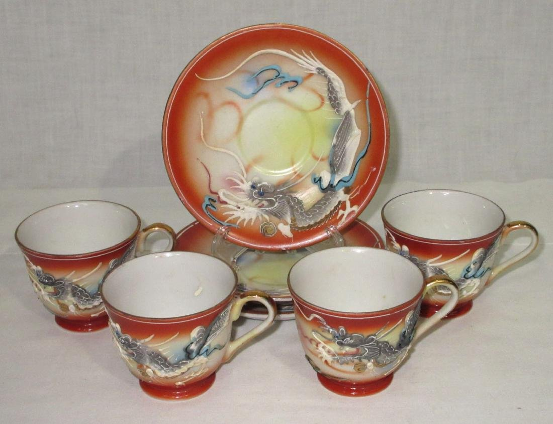 7pc Dragon Ware 4 Cups 3 Saucers