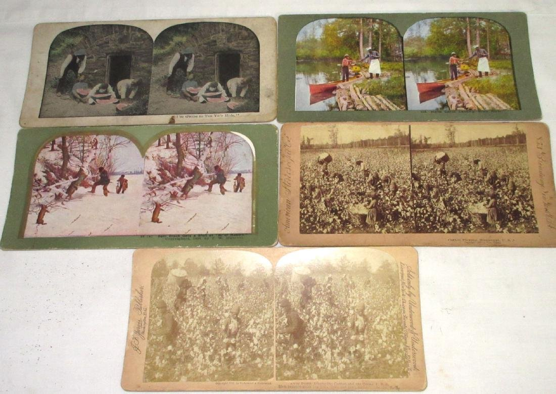 5 Black Americana Stereograph View Cards