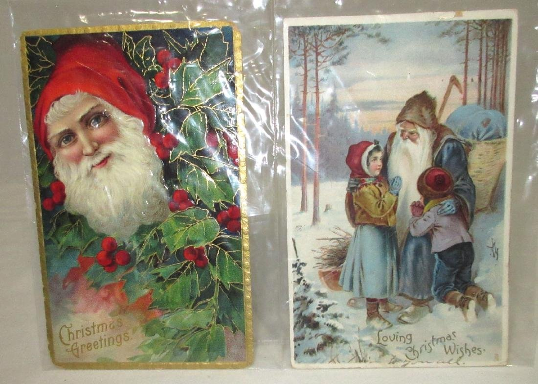 2 Santa Christmas Postcards