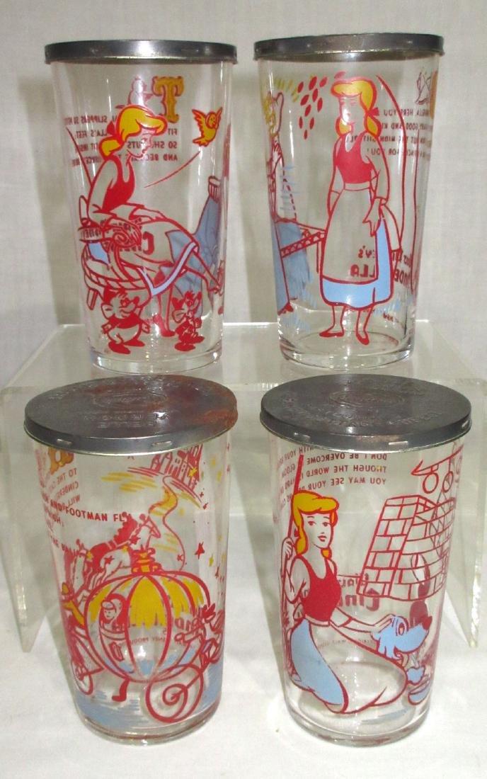 4 Walt Disney Cottage Cheese Glasses