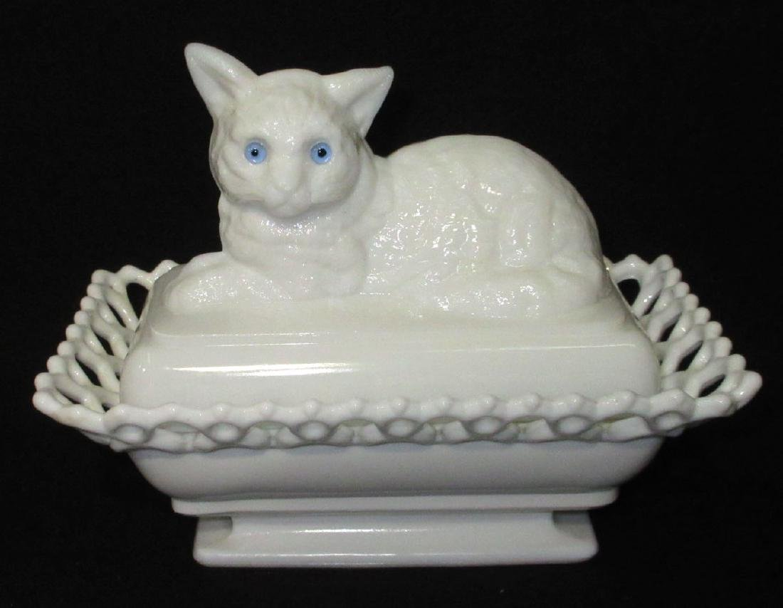 Cat Covered Dish Glass Eyes