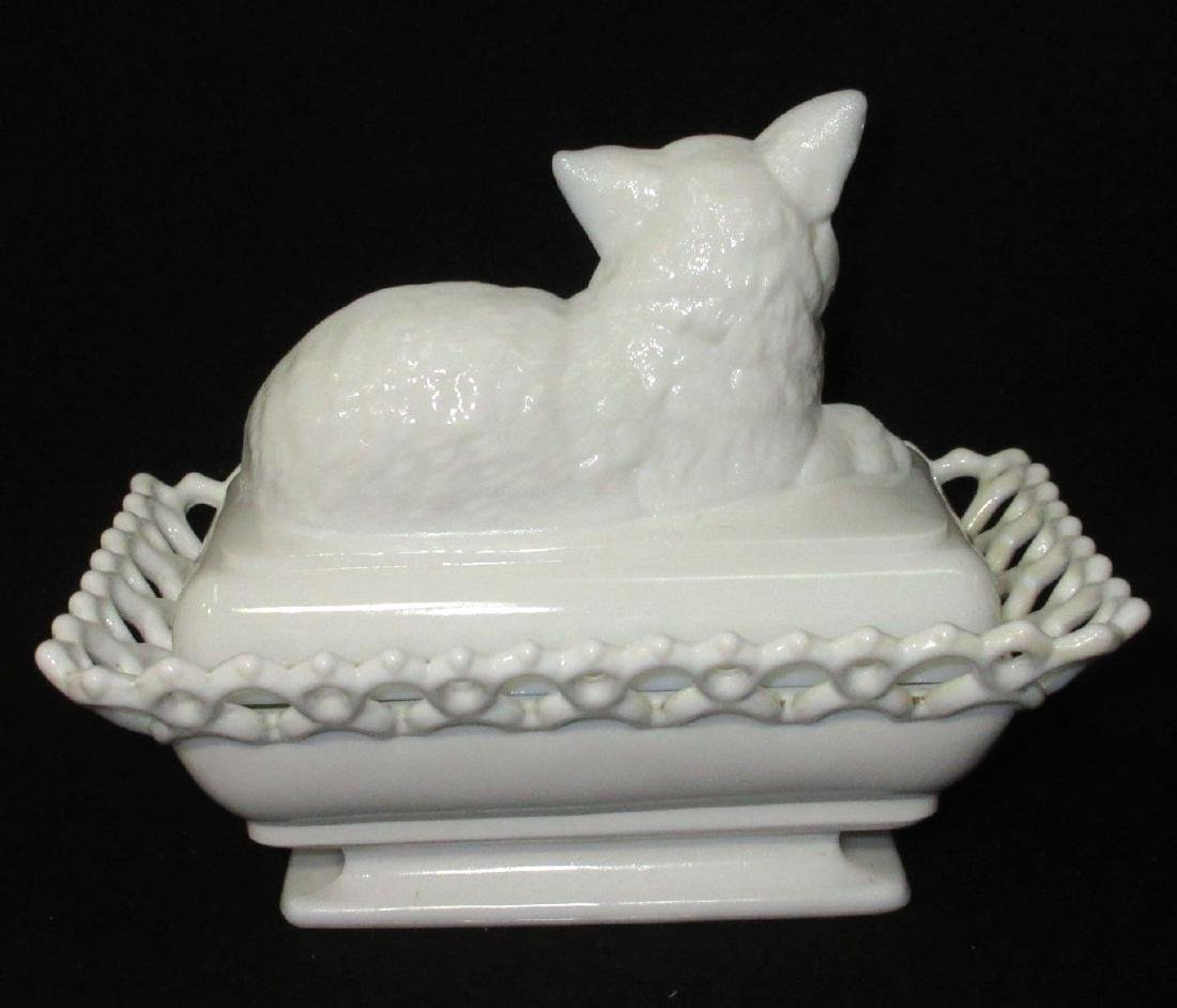 Cat Covered Dish Glass Eyes - 2