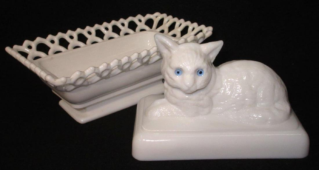 Cat Covered Dish Glass Eyes - 3