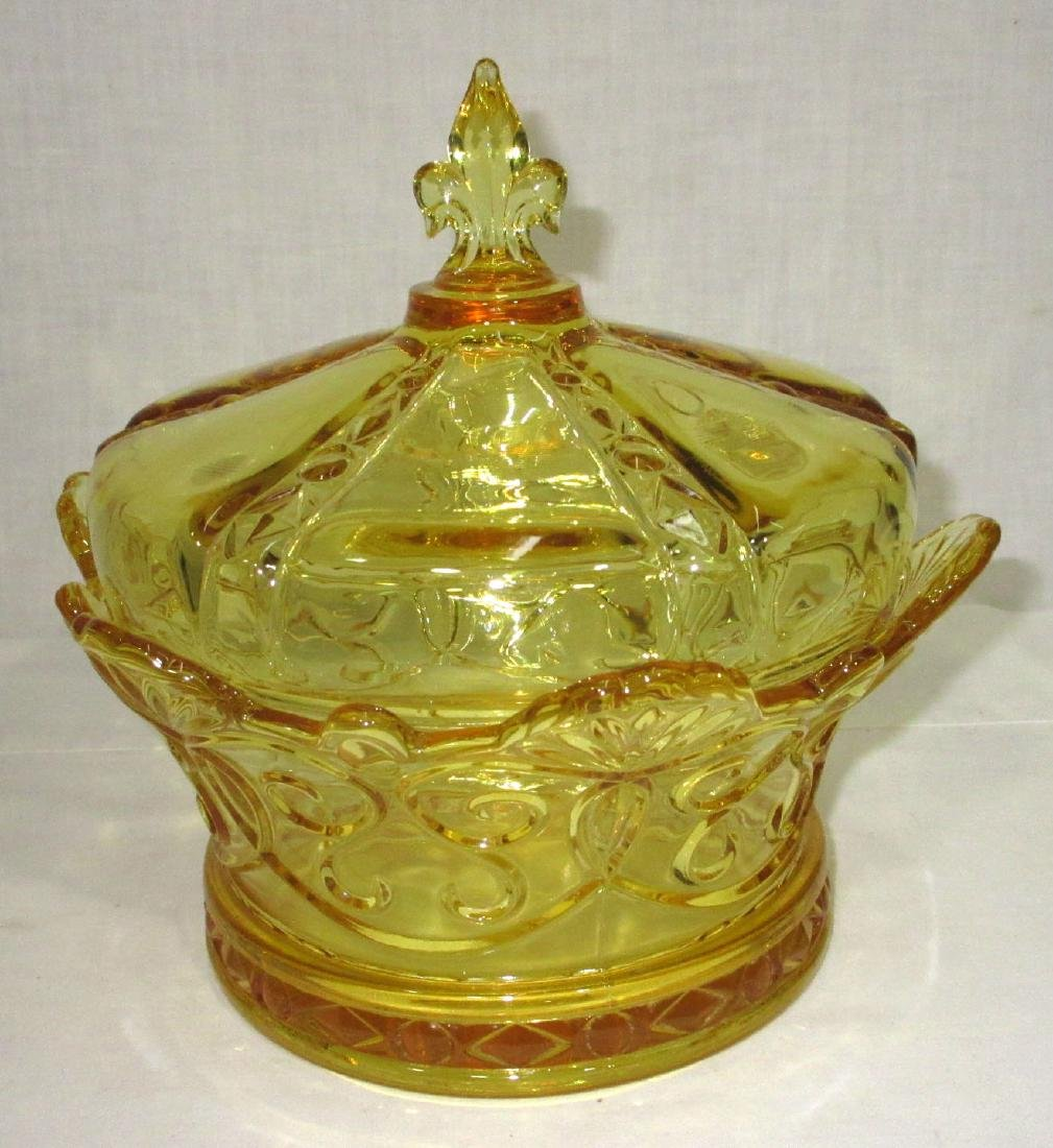 Yellow Pattern Glass Covered Bowl