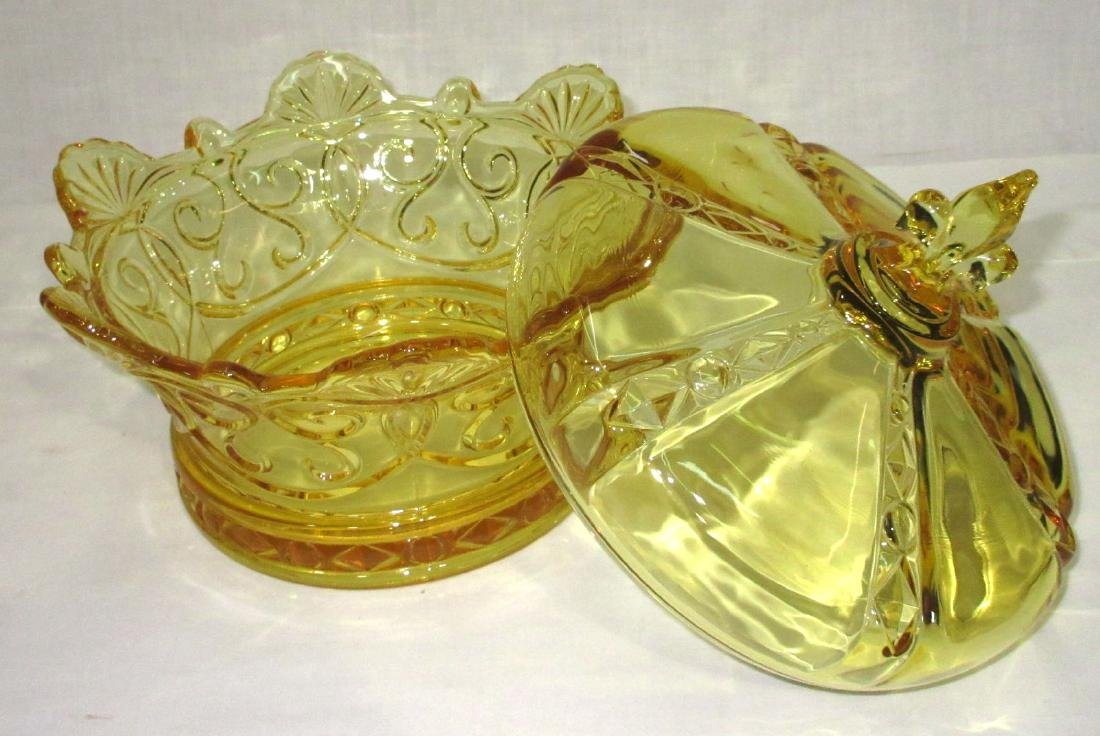 Yellow Pattern Glass Covered Bowl - 2