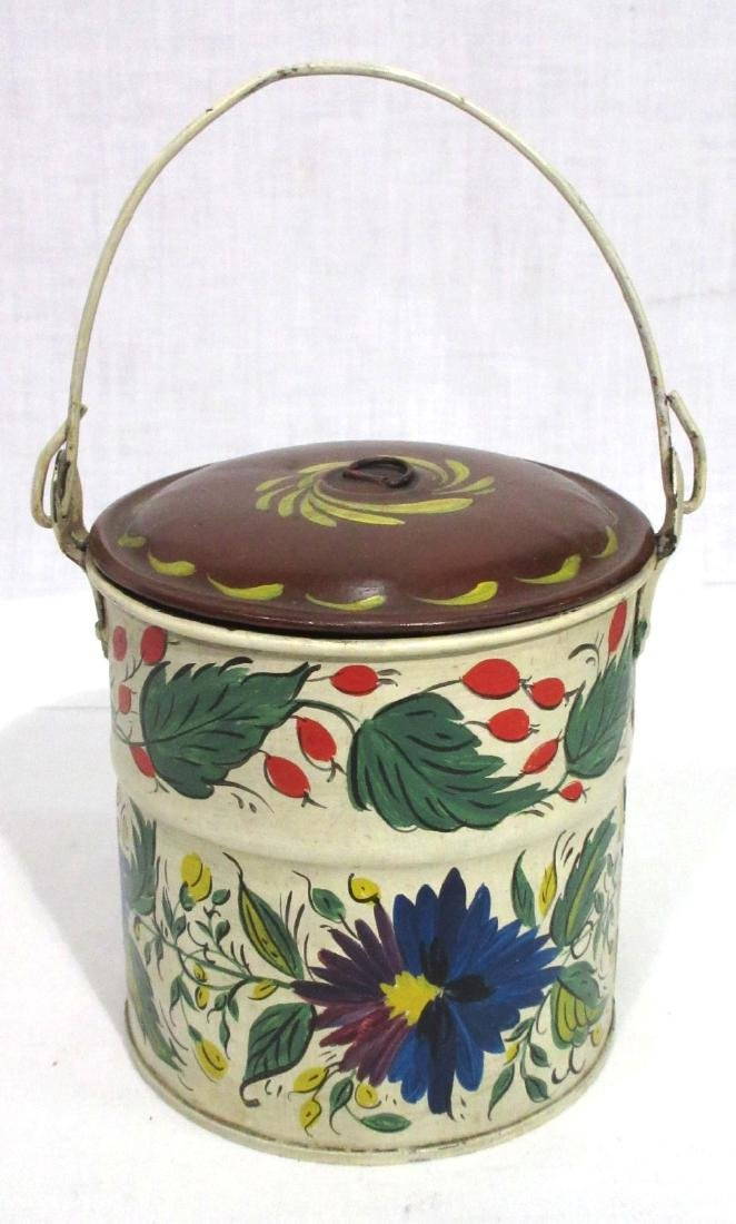 Tole Painted Tin Pail