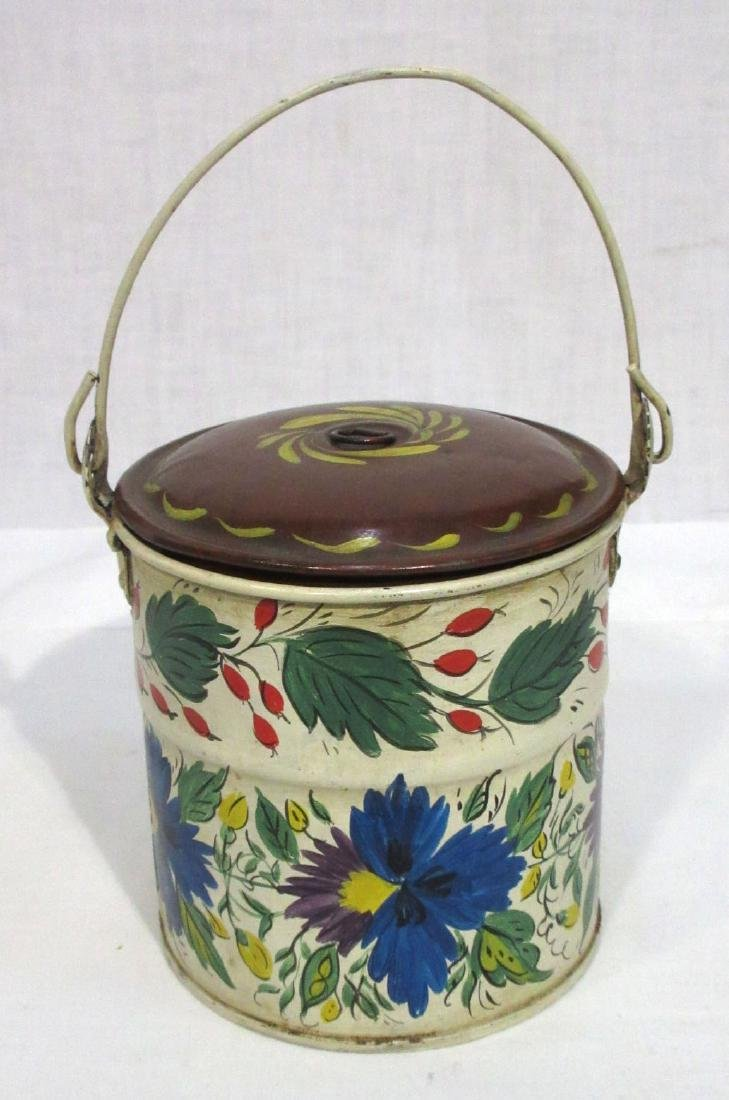 Tole Painted Tin Pail - 2