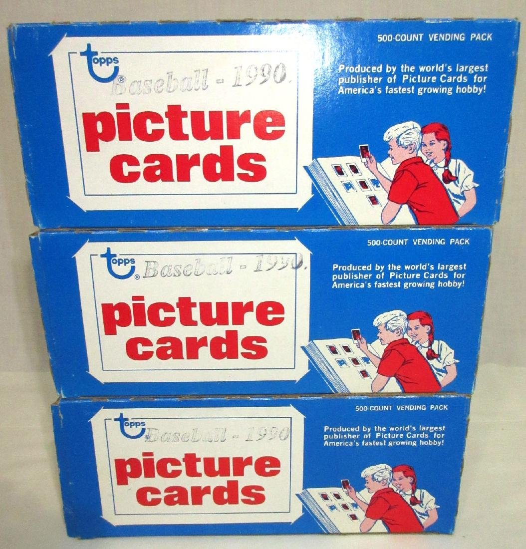 3 Factory Boxes 1990 Topps Baseball Cards - 2