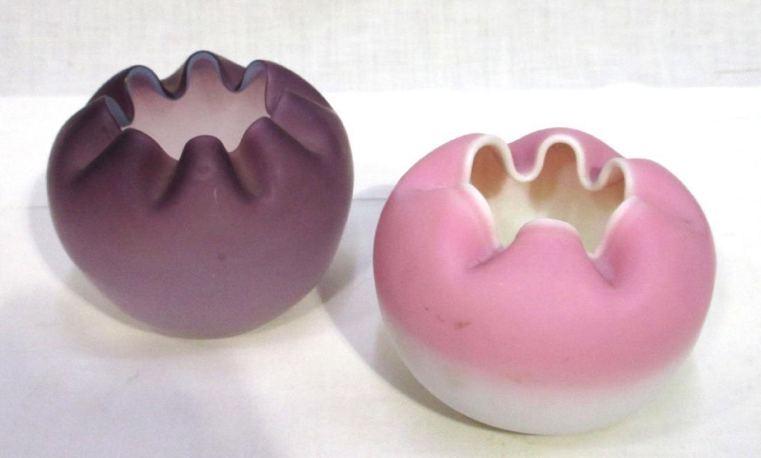 2 Art Glass Rose Bowls - 2