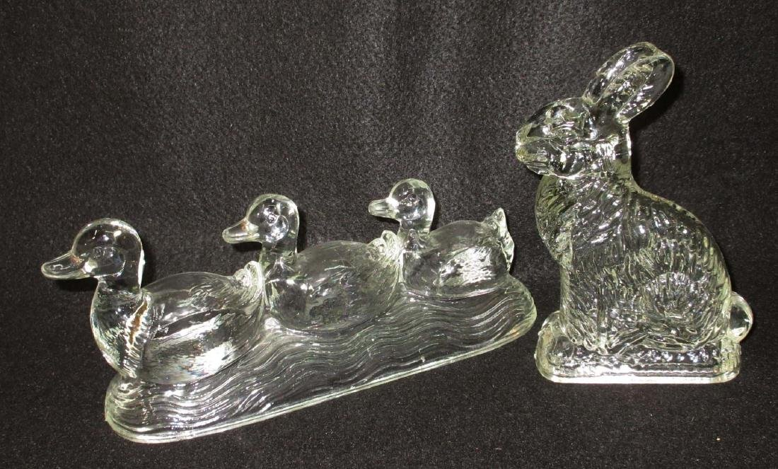 Rabbit & 3 Ducks Glass Candy Containers