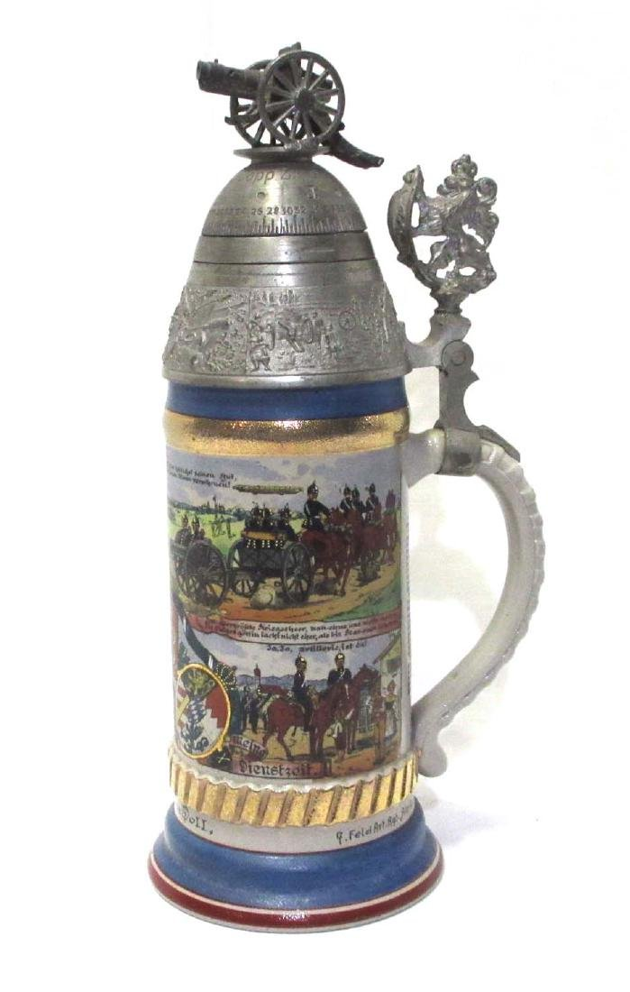 German Regimental Beer Stein w/Spinning top of lid
