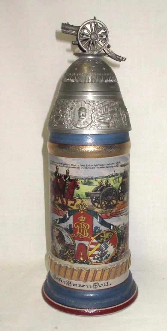 German Regimental Beer Stein w/Spinning top of lid - 2
