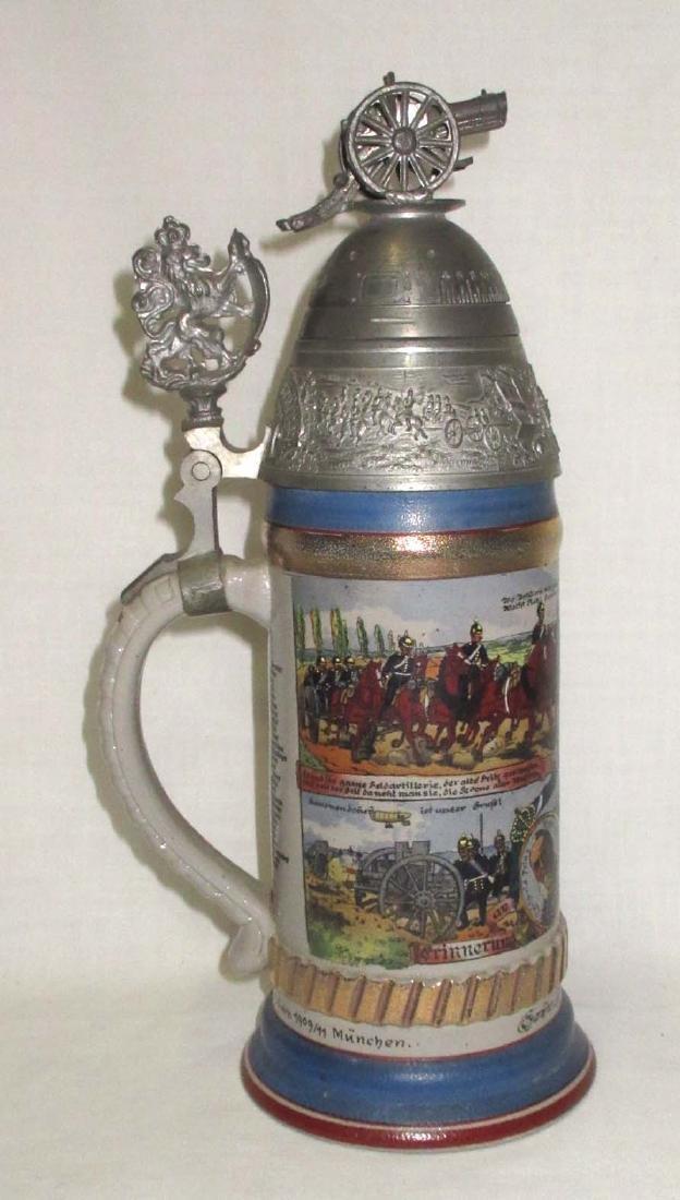 German Regimental Beer Stein w/Spinning top of lid - 3