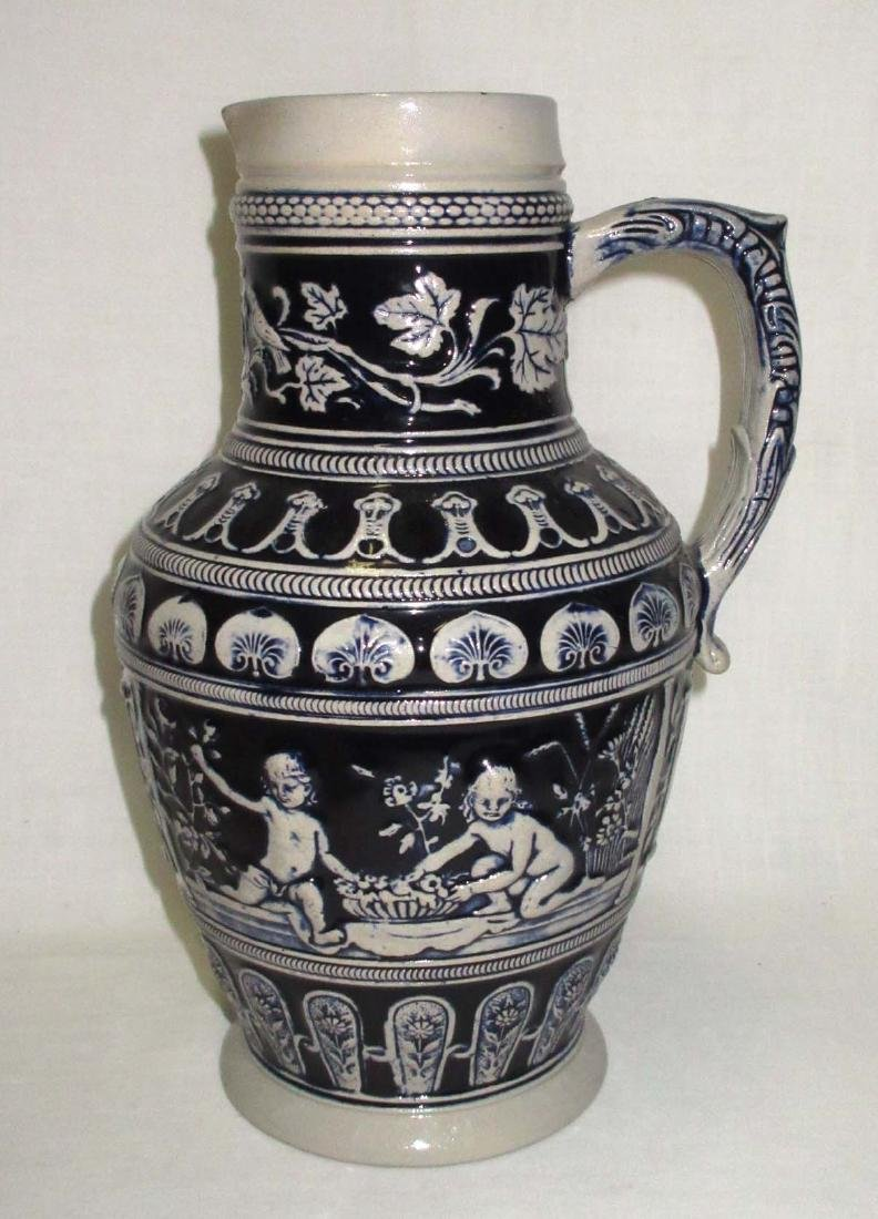 German 3L. Stoneware Beer Pitcher