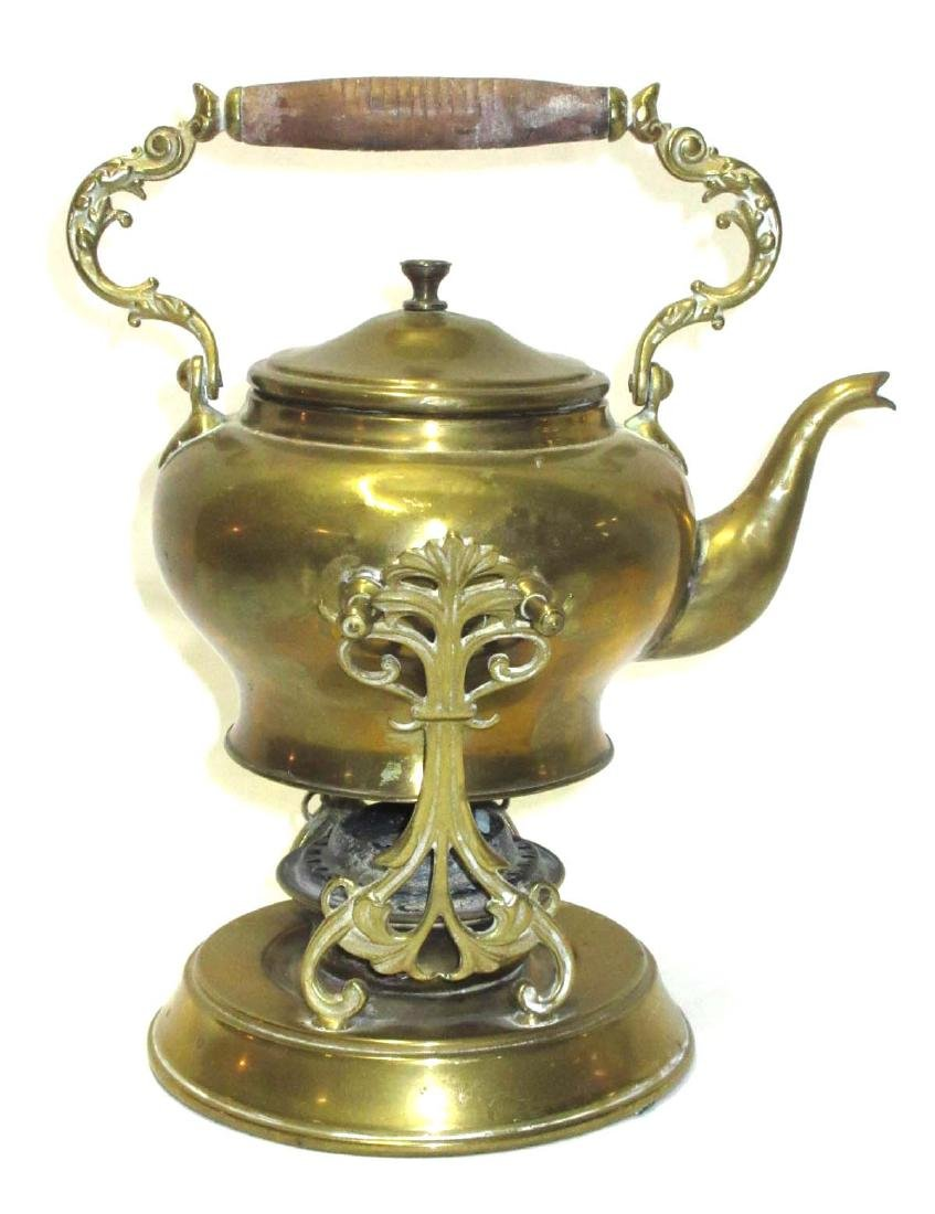 Early Brass Teakettle on Warmer