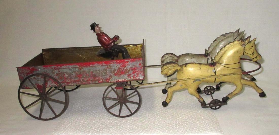 Lg. Early Tin Wagon & Horses Toy