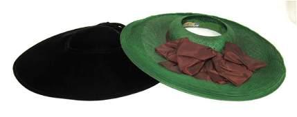 2 Vintage Straw & Velvet Ladies Hats