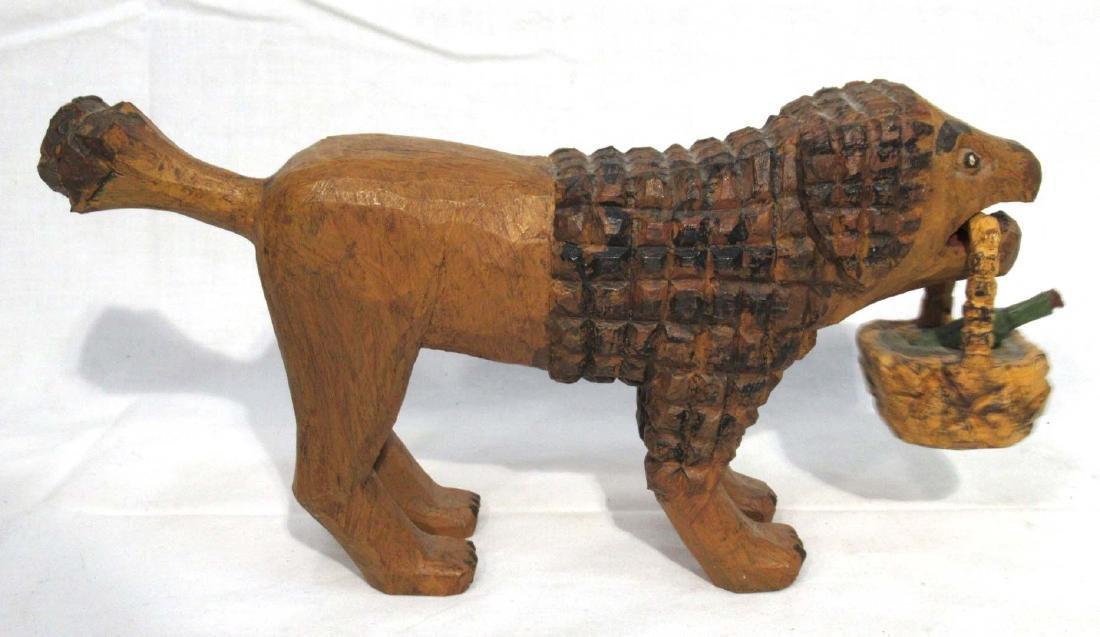 Folk Art Carved Lion w/ Basket