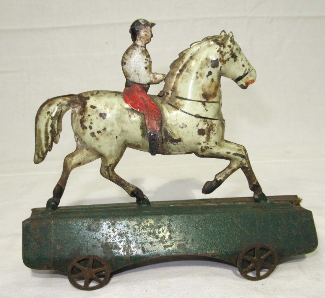 Early Tin Horse & Rider on Platform Toy - 2