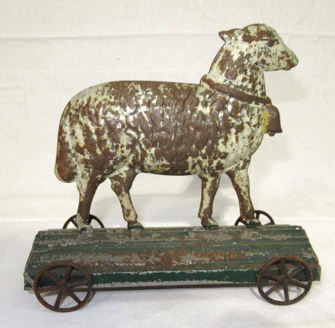 Early Tin Sheep on Platform Toy - 2