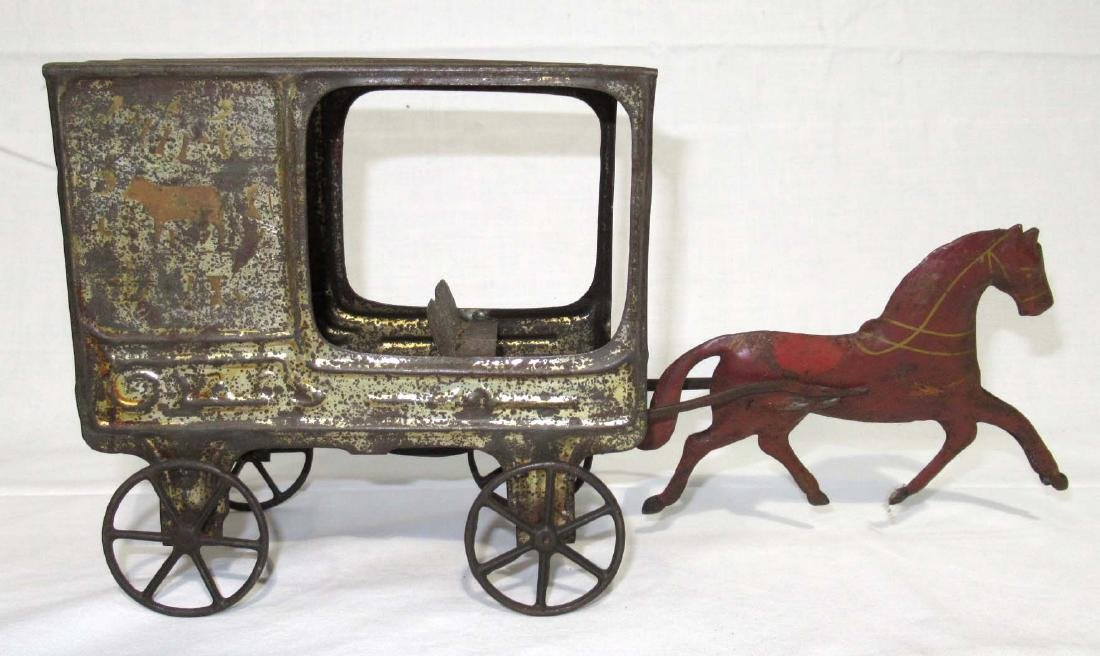 Early Tin Delivery Wagon & Horse Toy