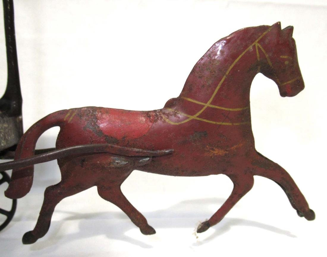 Early Tin Delivery Wagon & Horse Toy - 2