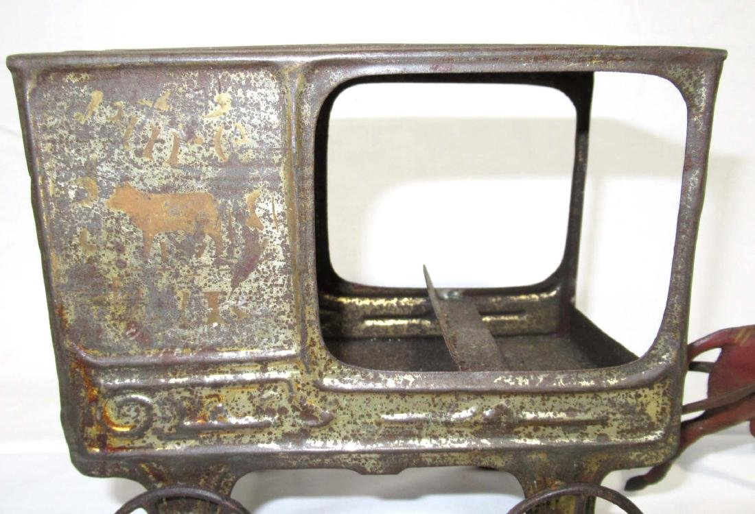 Early Tin Delivery Wagon & Horse Toy - 3
