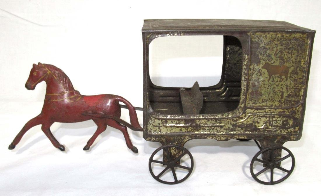 Early Tin Delivery Wagon & Horse Toy - 4