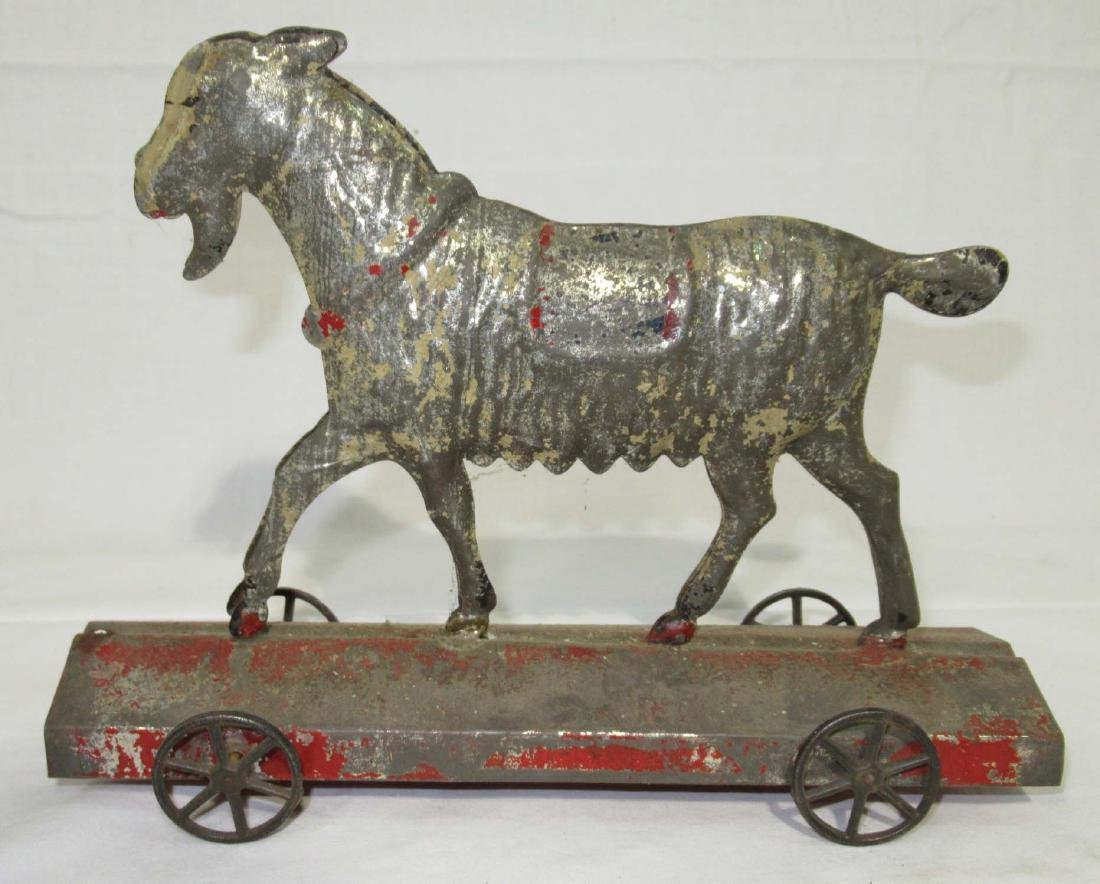 Early Tin Goat on Platform Toy - 2