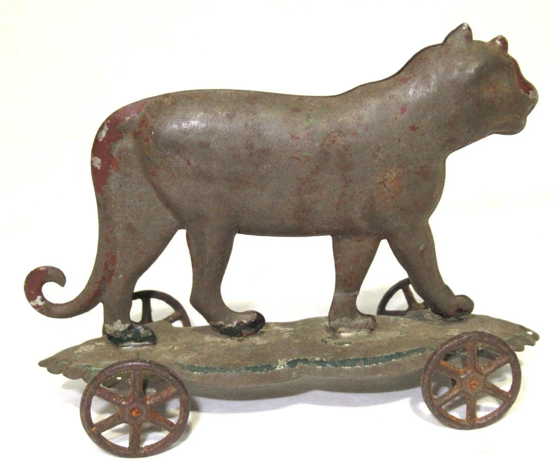 Early Tin Tiger on Platform Toy - 2