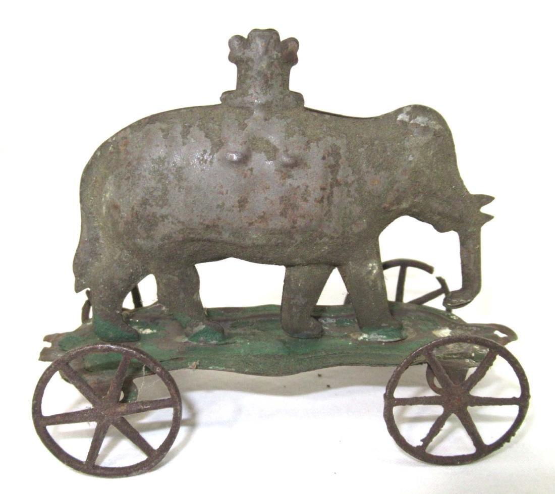 Early Tin Elephant On Platform Toy - 2