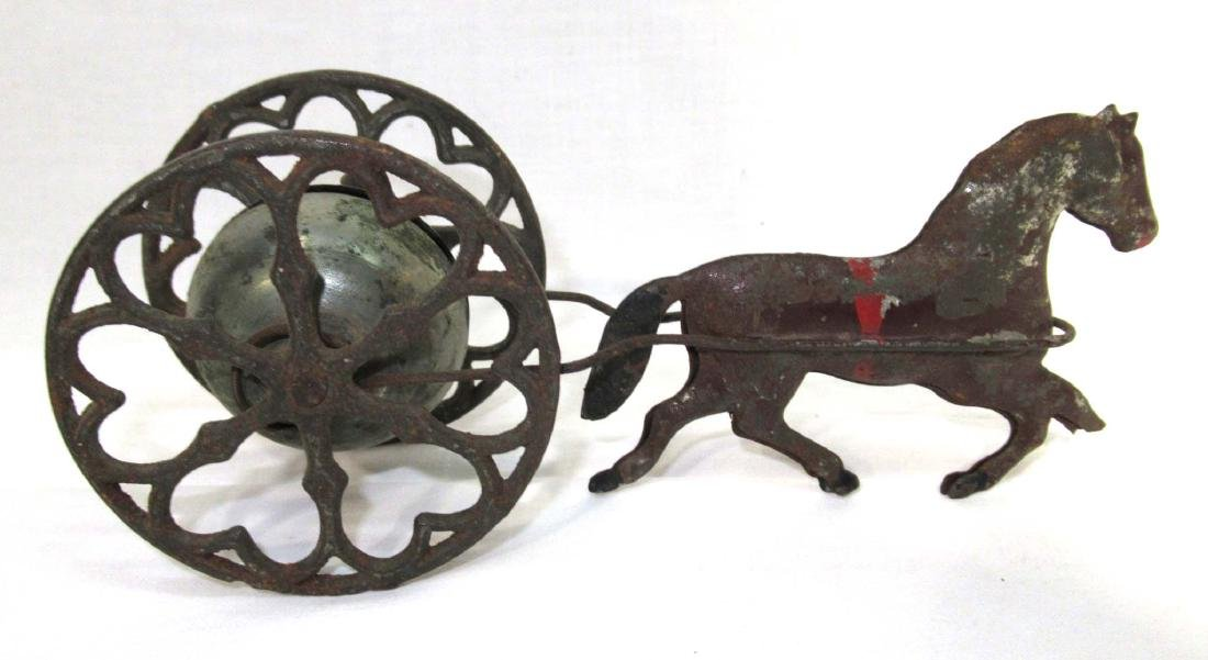 Early Tin Bell Pull Toy - 2