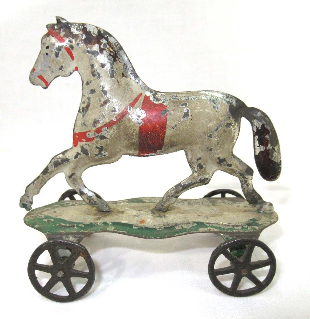Early Tin Horse On Platform Toy - 2