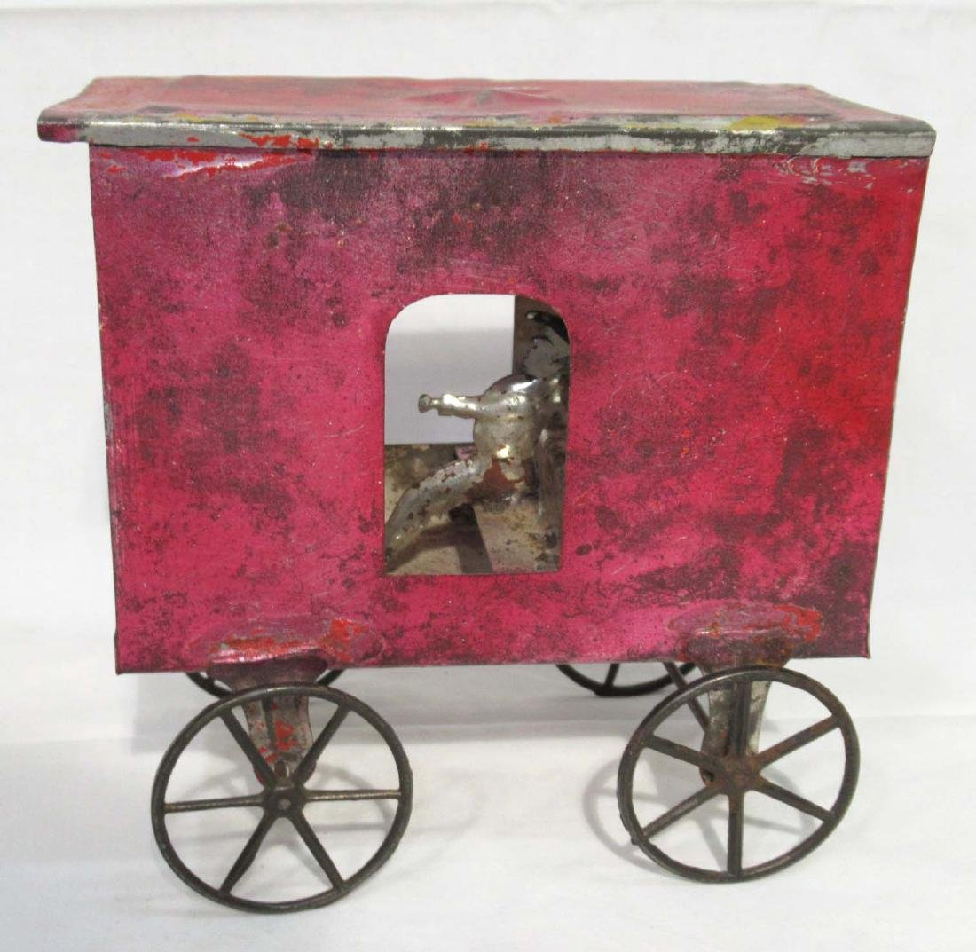 Early Tin Cart & Driver Toy