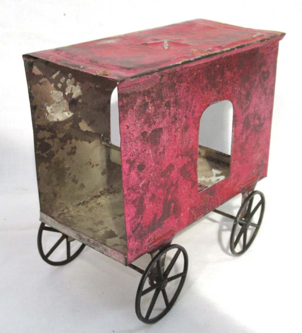 Early Tin Cart & Driver Toy - 3