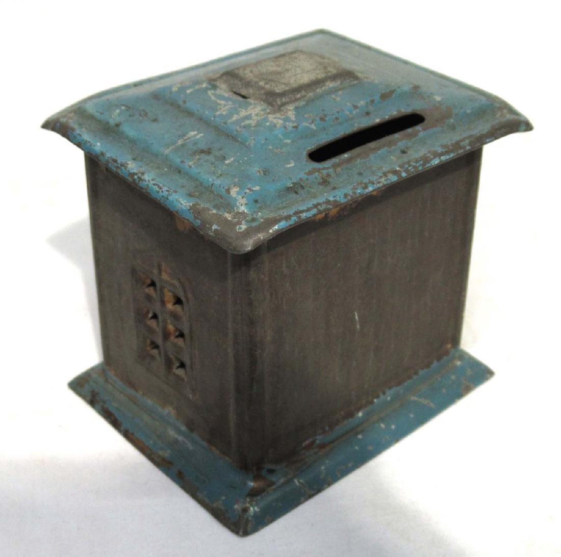 Early Soldered Tin Coin Bank - 2