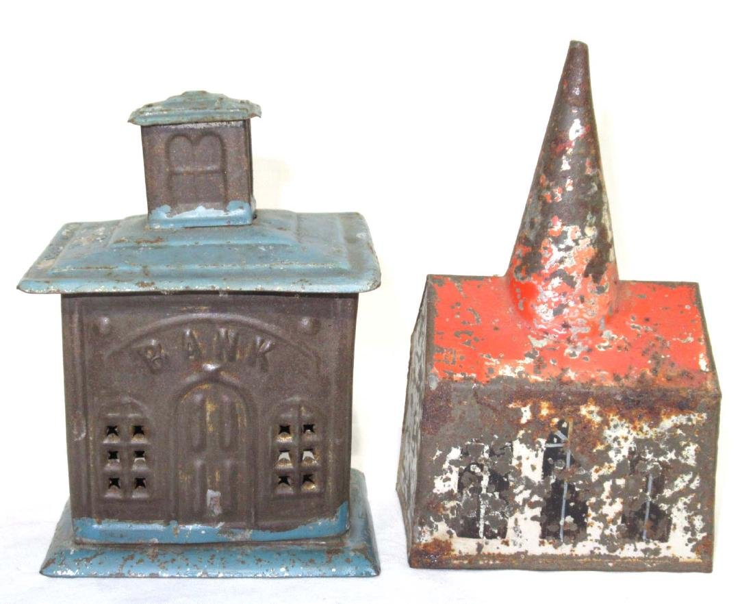 2 Early Soldered Tin Coin Banks