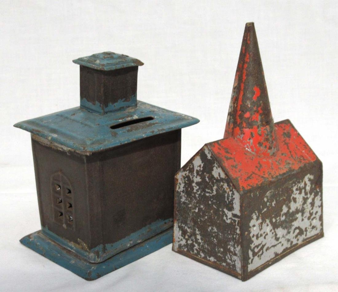 2 Early Soldered Tin Coin Banks - 2