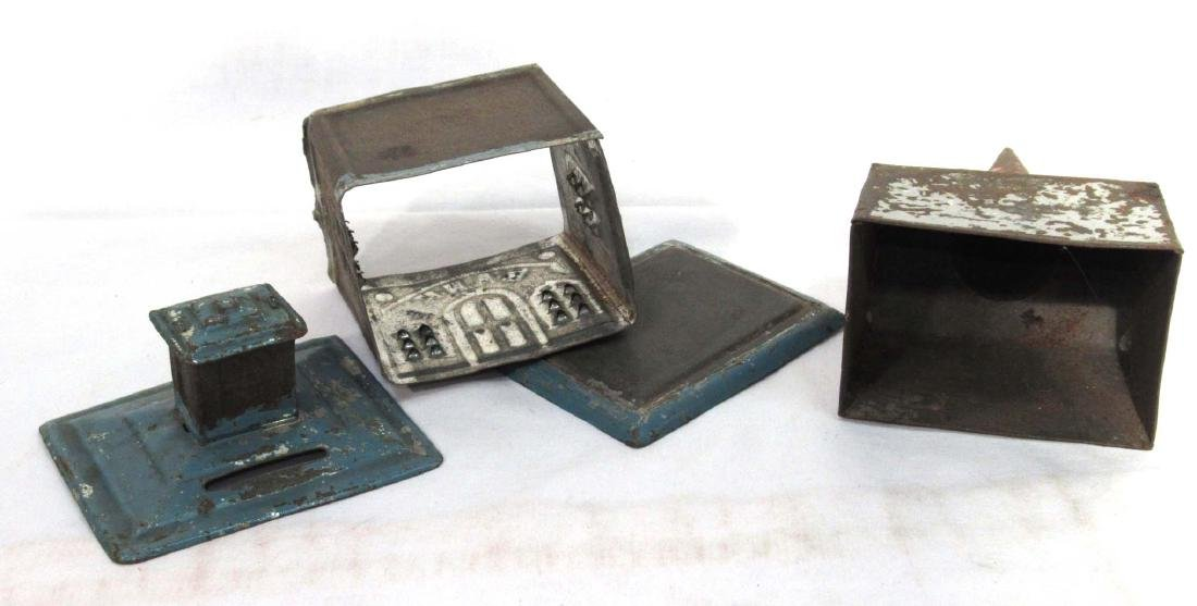 2 Early Soldered Tin Coin Banks - 3