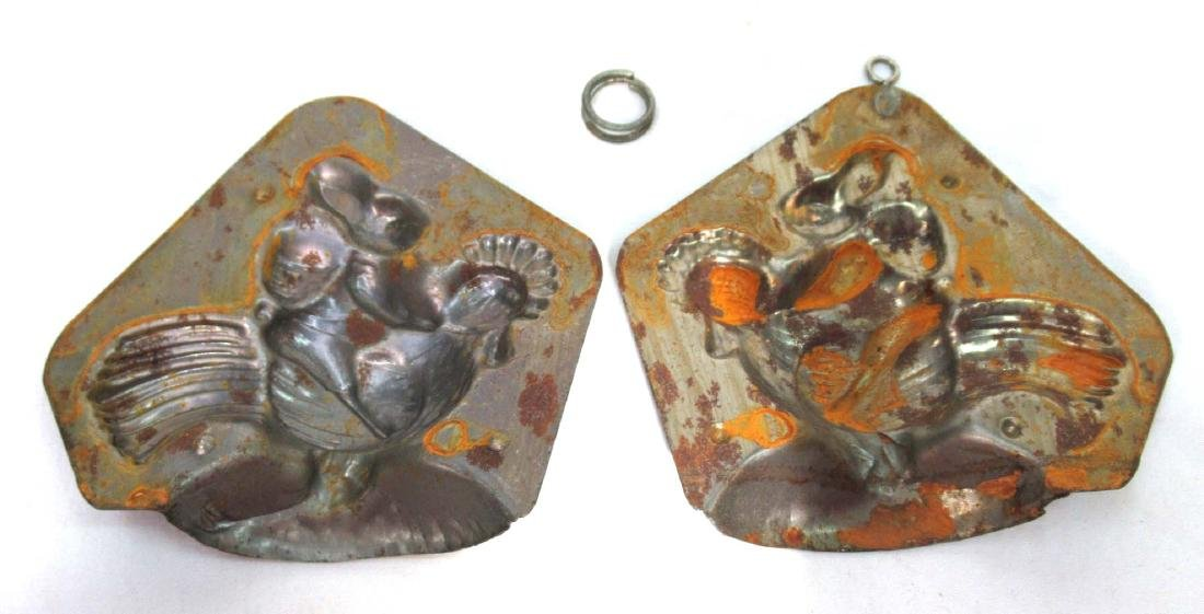 Tin Easter Bunny on a Rooster Chocolate Mold - 3