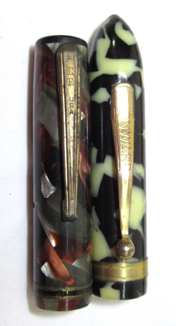 2 Celluloid Fountain Pens 14KGP Nibs - 4