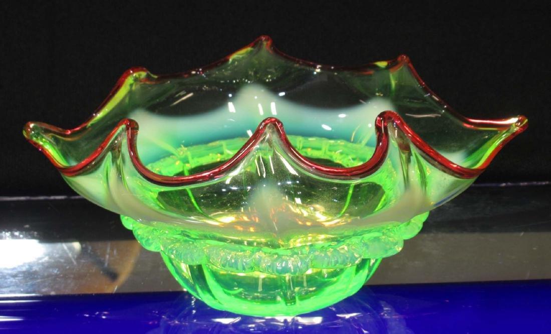 Victorian Vaseline Glass Marmalade Basket - 4