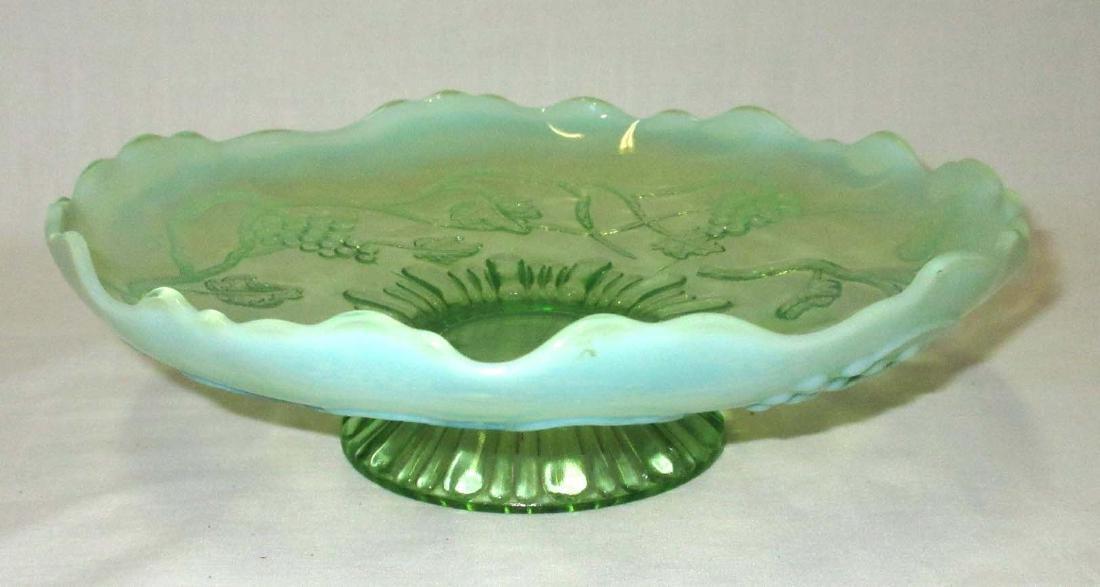 Green Opalescent Pedestal Bowl