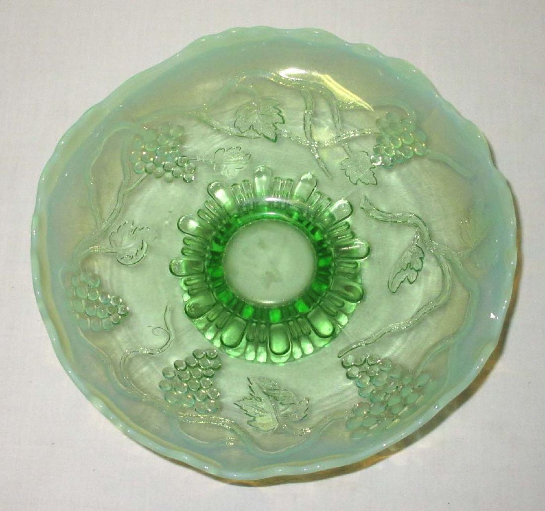 Green Opalescent Pedestal Bowl - 2