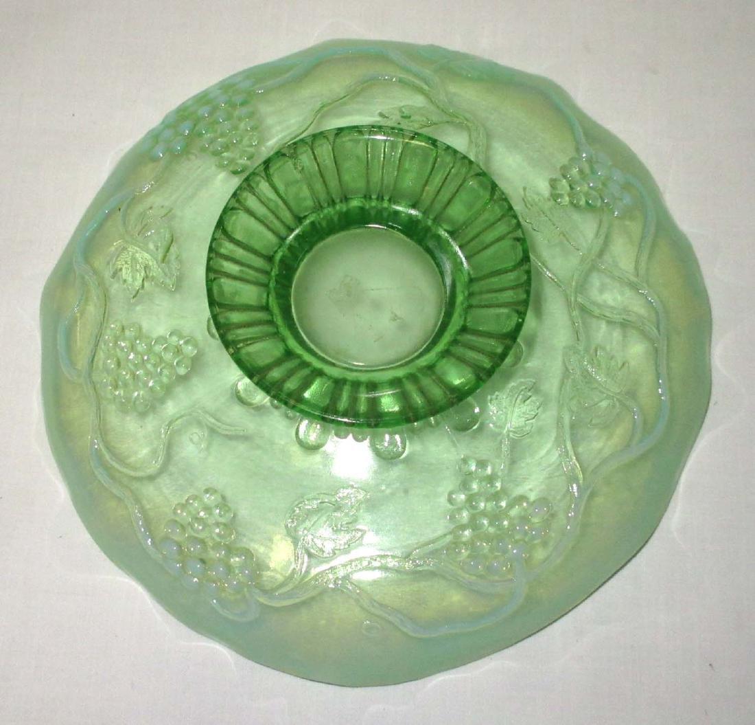 Green Opalescent Pedestal Bowl - 3