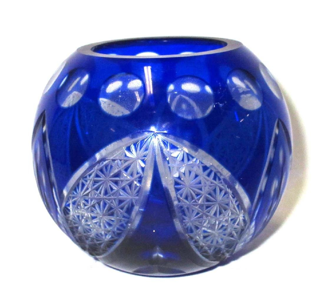 Cobalt Cut to Clear Rose Bowl - 2
