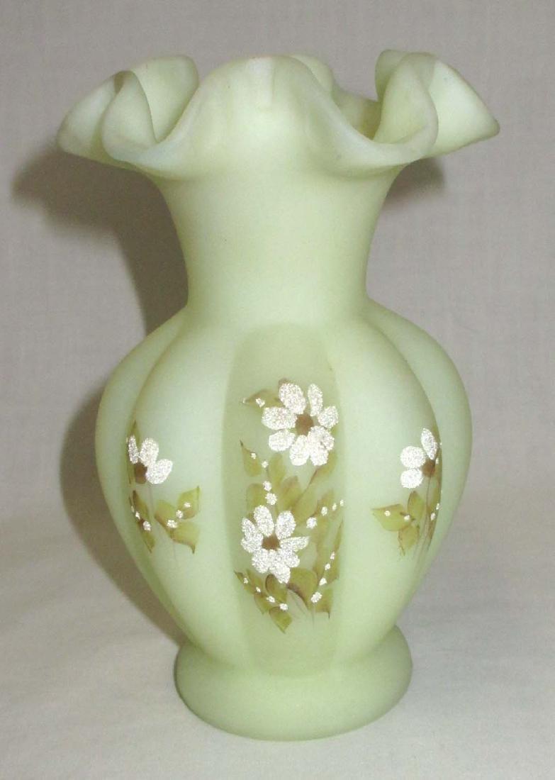 Fenton H.P. Burmese Vase Artist Sgnd