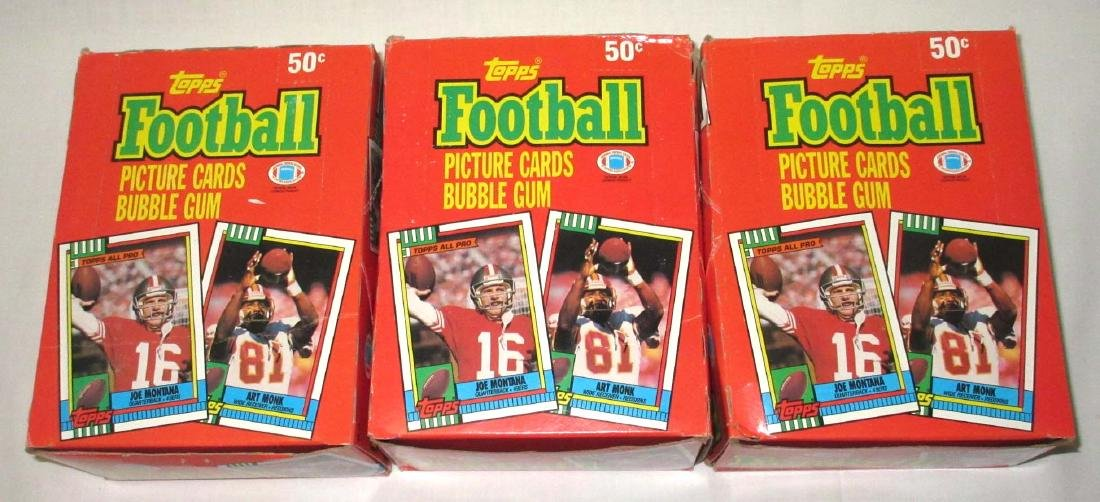 3 Factory Boxes 1990 Topps Football Cards